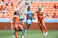 Houston, TX - Saturday May 13, 2017: Sky Blue FC defender Mandy Freeman (22), Houston Dash forward Rachel Daly (3), Houston Dash forward Nichelle Prince (14) during a regular season National Women's Soccer League (NWSL) match between the Houston Dash and Sky Blue FC at BBVA Compass Stadium. Sky Blue won the game 3-1.