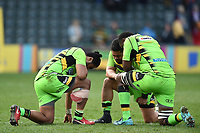 Ahsee Tuala, Campese Ma'afu and Api Ratuniyarawa of Northampton Saints share a prayer after the match. Aviva Premiership match, between Leicester Tigers and Northampton Saints on April 14, 2018 at Welford Road in Leicester, England. Photo by: Patrick Khachfe / JMP