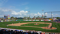 General view of the Philadelphia Phillies exhibition game against the University of Tampa on March 1, 2015 at Bright House Field in Clearwater, Florida.  University of Tampa defeated Philadelphia 6-2.  (Mike Janes/Four Seam Images)
