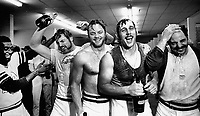 Oakland Athletics celebrate after winning the 1972 World Series against the Cincinnati Reds..left to right:<br />