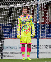 Goalkeeper Scott Brown of Wycombe Wanderers  during the pre season friendly match between Aldershot Town and Wycombe Wanderers at the EBB Stadium, Aldershot, England on 22 July 2017. Photo by Andy Rowland.