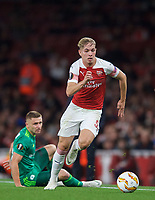 Emile Smith-Rowe of Arsenal leaves Mykhaylo Serhiychuk of Vorskla Poltava during the UEFA Europa League match group between Arsenal and Vorskla Poltava at the Emirates Stadium, London, England on 20 September 2018. Photo by Andrew Aleks / PRiME Media Images.