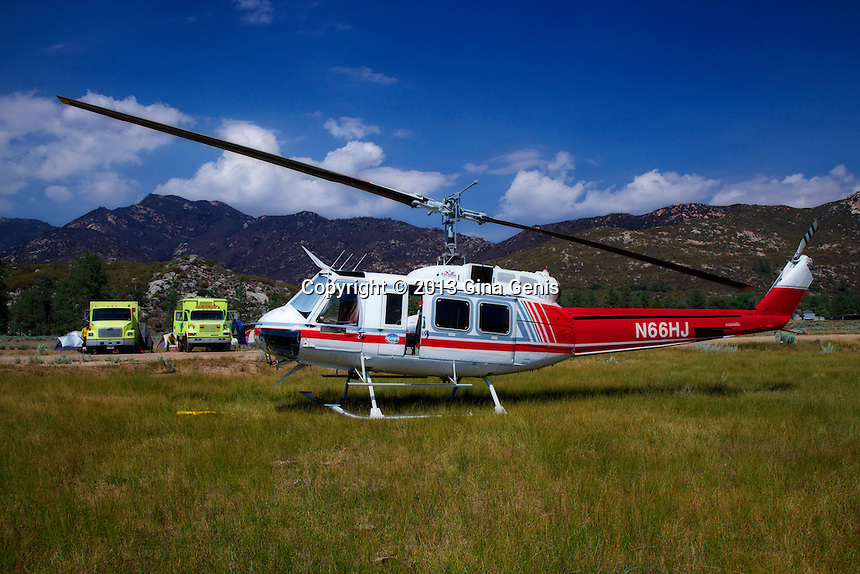 A helicopter from Apple Valley waiting for an assignment during the Mountain Center fire
