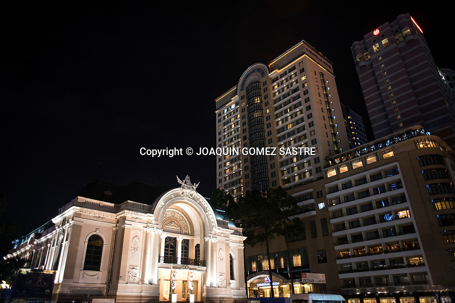 At the corner of Le Loi and Dong Khoi in Ho Chi Minh (vietnam), there is the opera theater of Saigon next to the huge tower of the Hotel Caravelle.<br /> HO CHI MINH-VIETNAM