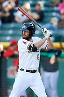 Dustin Ackley (6) of the Salt Lake Bees bats against the El Paso Chihuahuas in Pacific Coast League action at Smith's Ballpark on May 1, 2017 in Salt Lake City, Utah.  Salt Lake defeated El Paso 9-4. (Stephen Smith/Four Seam Images)