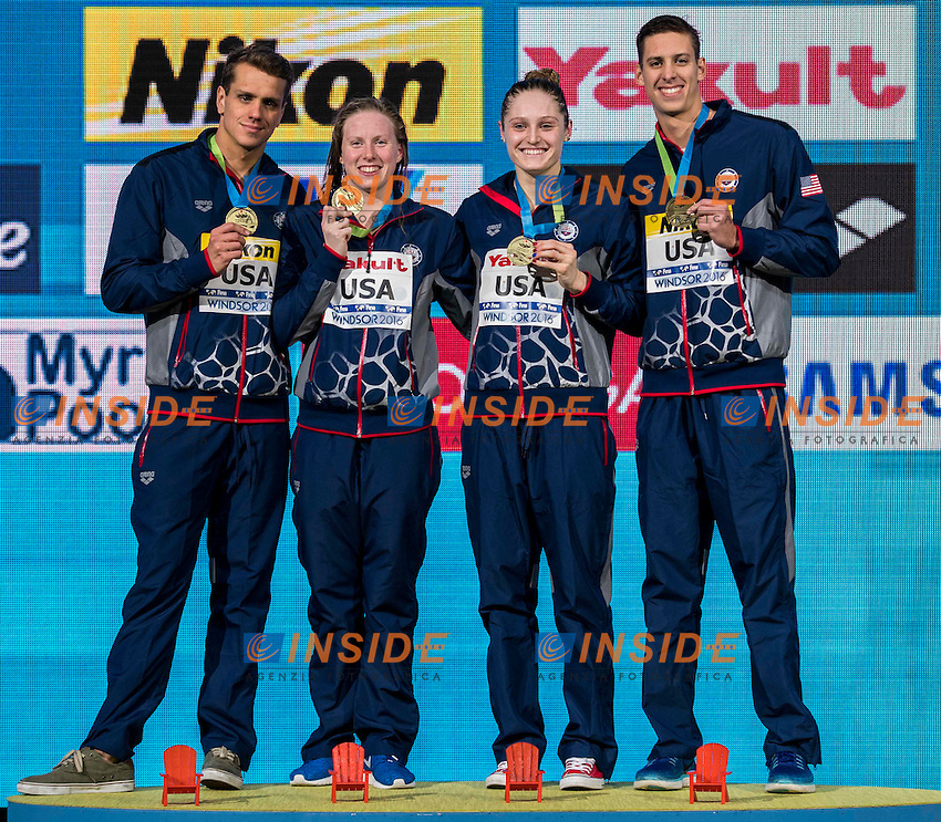 United States USA Gold Medal <br /> SHIELDS Tom (M) KING Lilly (W) WORRELL Kelsi (W) CHADWICK Michael Hunt (M)<br /> Mixed 4x100m Medley Relay<br /> 13th Fina World Swimming Championships 25m <br /> Windsor  Dec. 8th, 2016 - Day03 Finals<br /> WFCU Centre - Windsor Ontario Canada CAN <br /> 20161208 WFCU Centre - Windsor Ontario Canada CAN <br /> Photo &copy; Giorgio Scala/Deepbluemedia/Insidefoto