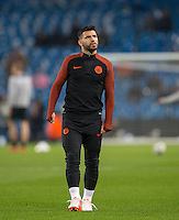 Sergio Aguero of Manchester City during warm up during the UEFA Champions League GROUP match between Manchester City and Celtic at the Etihad Stadium, Manchester, England on 6 December 2016. Photo by Andy Rowland.