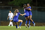 16 October 2015: Duke's Imani Dorsey (right) celebrates her goal with Taylor Racioppi (7) and Morgan Reid (24). The University of North Carolina Tar Heels hosted the Duke University Blue Devils at Fetzer Field in Chapel Hill, NC in a 2015 NCAA Division I Women's Soccer game. Duke won the game 1-0.