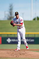 Mesa Solar Sox starting pitcher Jesus Castillo (71), of the Los Angeles Angels organization, gets ready to deliver a pitch during an Arizona Fall League game against the Surprise Saguaros at Sloan Park on November 1, 2018 in Mesa, Arizona. Surprise defeated Mesa 5-4 . (Zachary Lucy/Four Seam Images)