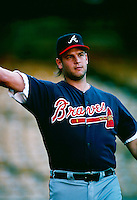 Mark Wohlers of the Atlanta Braves during a game at Dodger Stadium in Los Angeles, California during the 1997 season.(Larry Goren/Four Seam Images)