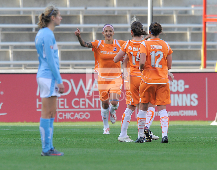 # 2 Marian Dalmy  of the Chicago Red Stars stand dejected after # 6 Natasha Kai of Sky Blue FC scored in the 79th minute.  Sky Blue FC beat the Red Star 2-0.