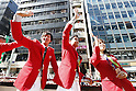 (L-R) Masato Sakai, Yuki Kobori, Natsumi Hoshi (JPN), OCTOBER 7, 2016 : Japanese medalists of Rio 2016 Olympic and Paralympic Games wave to spectators during a parade from Ginza to Nihonbashi, Tokyo, Japan. (Photo by AFLO SPORT)