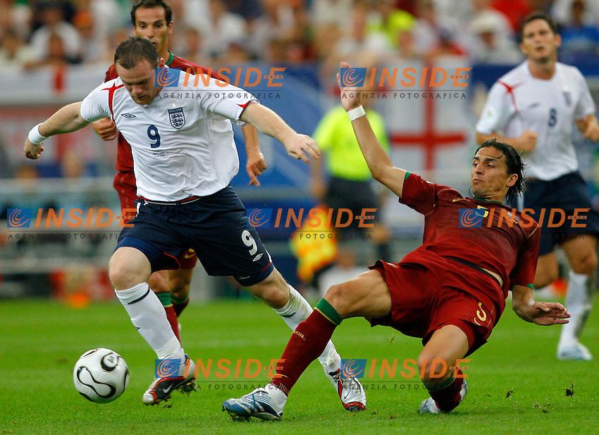 Gelsenkirchen 1/7/2006 World Cup 2006 Quarti di finale Inghilterra Portogallo 1-3 a.p..Photo Andrea Staccioli Insidefoto.Wayne Rooney Inghilterra Fernando Meira Portogallo