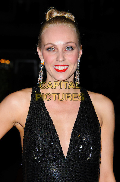Camilla Dallerup.Daily Mail Inspirational Woman of The Year Awards at the Marriott Grosvenor Square Hotel, London, England..January 18th, 2012.half length dress black sleeveless headshot portrait hair up red lipstick dangling silver earrings sequins sequined .CAP/CJ.©Chris Joseph/Capital Pictures.