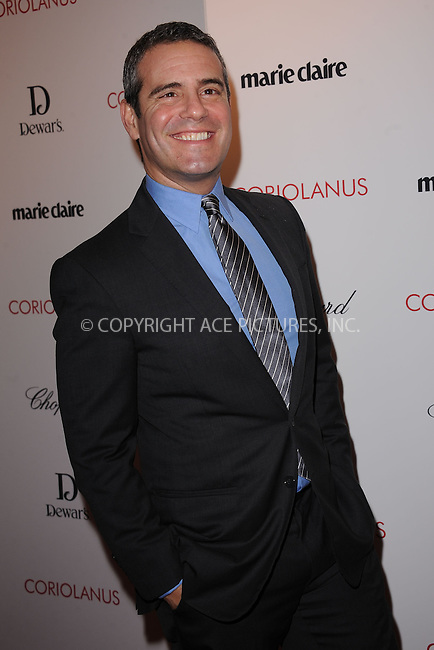 "WWW.ACEPIXS.COM . . . . . .January 17, 2012, New York City....Andy Cohen attends Chopard & Dewar's New York Premiere of The Weinstein Company's ""Coriolanus"" at the  Paris Theatre on  January 17, 2012  in New York City ....Please byline: KRISTIN CALLAHAN - ACEPIXS.COM.. . . . . . ..Ace Pictures, Inc: ..tel: (212) 243 8787 or (646) 769 0430..e-mail: info@acepixs.com..web: http://www.acepixs.com ."