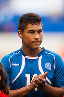 El Salvador forward Dustin Corea (14) during a CONCACAF Gold Cup group B match at Red Bull Arena in Harrison, NJ, on July 8, 2013.