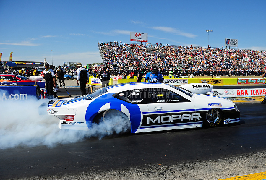 Sept. 24, 2011; Ennis, TX, USA: NHRA pro stock driver Allen Johnson during qualifying for the Fall Nationals at the Texas Motorplex. Mandatory Credit: Mark J. Rebilas-