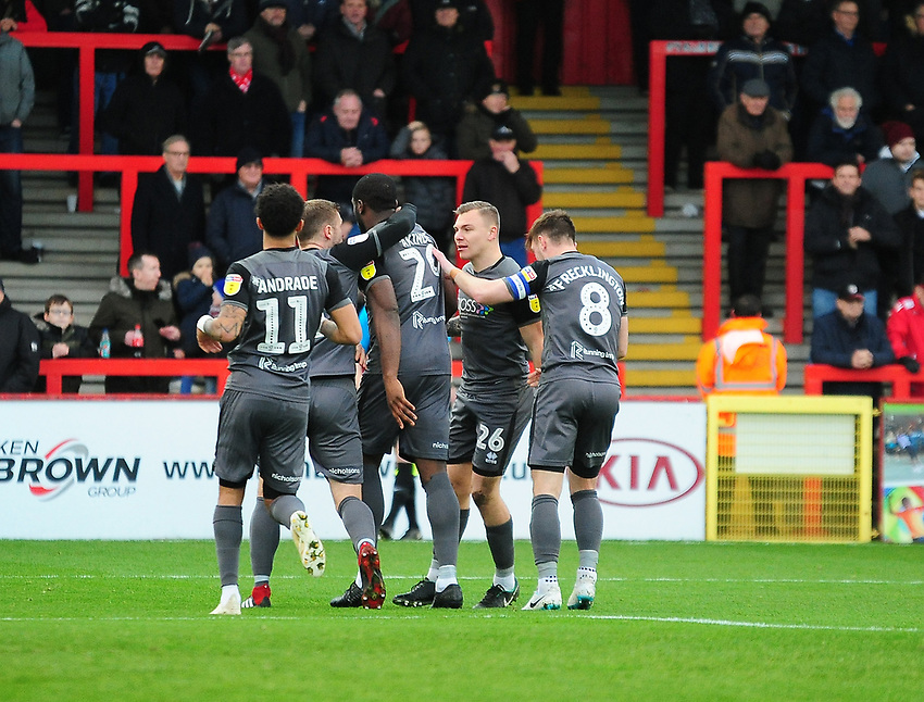 Lincoln City's John Akinde celebrates scoring the opening goal with team-mates<br /> <br /> Photographer Andrew Vaughan/CameraSport<br /> <br /> The EFL Sky Bet League Two - Stevenage v Lincoln City - Saturday 8th December 2018 - The Lamex Stadium - Stevenage<br /> <br /> World Copyright © 2018 CameraSport. All rights reserved. 43 Linden Ave. Countesthorpe. Leicester. England. LE8 5PG - Tel: +44 (0) 116 277 4147 - admin@camerasport.com - www.camerasport.com