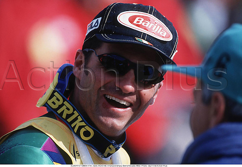 ALBERTO TOMBA (ITA), World Cup Finals, Bormio, Italy 9503. Photo: Glyn Kirk/Action Plus...1995.skiing.winter sport.winter sports.wintersport.wintersports.alpine.ski.skier.portrait.man