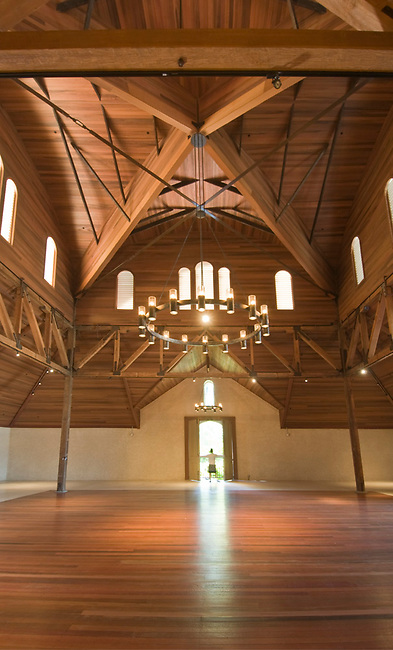 """Interior of restored """"carriage house"""" at Charles Krug winery, Napa Valley"""