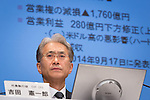 October 31, 2014, Tokyo, Japan - Kenichiro Yoshida, Sony Corp.'s  chief financial officer, wears a stern look on his face as he reports a second-quarter operating loss during a news conference at Sony's head office in Tokyo on Friday, October 31, 2014. The loss was narrower than expected as sales of its PlayStation 4 games console reduced the impact of a sluggish smartphone division. (Photo by AFLO) UUK -mis-