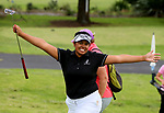 Chantelle Cassidy celebrates winning the Charles Tour, Muriwai Open at Akarana Golf Course, Auckland, New Zealand, Sunday 9 April 2017.  Photo: Simon Watts/www.bwmedia.co.nz