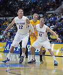 February 7, 2015 - Colorado Springs, Colorado, U.S. -  Falcon's, Max Yon #22 and Ryan Manning #32, control the lane during an NCAA basketball game between the University of Wyoming Cowboys and the Air Force Academy Falcons at Clune Arena, U.S. Air Force Academy, Colorado Springs, Colorado.  Air Force soars to a 73-50 win over Wyoming.