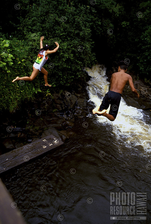Kids jumping off very high bridge into pond on Hamakua Coast near Hilo, Hawaii.