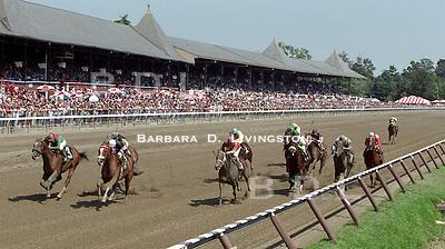 Saratoga, Travers day.  Uncommon Valor, left, winning. Saratoga Race Course, Saratoga Racetrack, beautiful horse racing, Thoroughbred racing, horse, equine, racehorse, morning mood