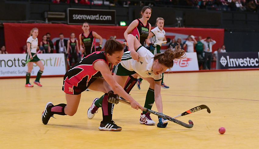 Slough's Georgie Whitaker vies for possession with Canterbury's Eliza Brett<br /> <br /> Photographer Chis Vaughan/CameraSport<br /> <br /> Hockey Super 6s - Maxifuel Super Sixes Finals - Women's Final - Slough v Canterbury - Sunday 29 January 201 - Wembley Arena<br /> <br /> World Copyright © 2017 CameraSport. All rights reserved. 43 Linden Ave. Countesthorpe. Leicester. England. LE8 5PG - Tel: +44 (0) 116 277 4147 - admin@camerasport.com - www.camerasport.com