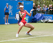 June 13th 2017, Nottingham, England; WTA Aegon Nottingham Open Tennis Tournament;  Forehand from Johanna Konta of Great Britain who beat Tara Moore of Great Britain in two sets