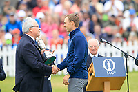 Jordan Spieth (USA) being presented with the claret jug after the final round of The Open Championship 146th Royal Birkdale, Southport, England. 23/07/2017.<br /> Picture Fran Caffrey / Golffile.ie<br /> <br /> All photo usage must carry mandatory copyright credit (&copy; Golffile | Fran Caffrey)