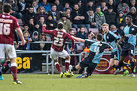 Danny Rose of Northampton Town scores the winner during the Sky Bet League 2 match between Northampton Town and Wycombe Wanderers at Sixfields Stadium, Northampton, England on the 20th February 2016. Photo by Liam McAvoy.