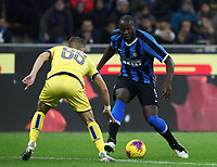 Calcio, Serie A: Inter Milano - Hellas Verona, Giuseppe Meazza stadium, November 9, 2019.<br /> Inter's Romelu Lukaku (r) in action with Hellas Verona Darko Lazovic (l) during the Italian Serie A football match between Inter and Hellas Verona at Giuseppe Meazza (San Siro) stadium, on November 9, 2019.<br /> UPDATE IMAGES PRESS/Isabella Bonotto