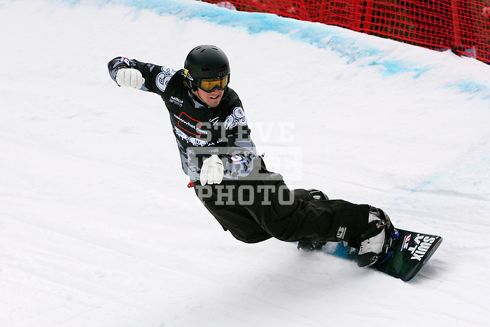 Alex Diebold (USA) competes in the qualification round for the Nokia Snowboard FIS World Cup for snowboard-cross at Whiteface Mountain in Lake Placid, New York on March 10, 2007.