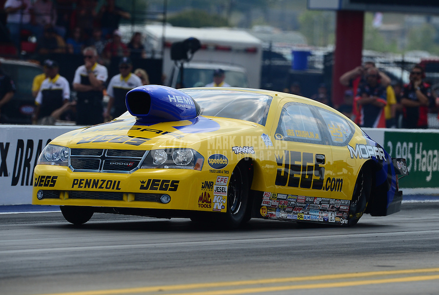 Apr. 15, 2012; Concord, NC, USA: NHRA pro stock driver Jeg Coughlin during the Four Wide Nationals at zMax Dragway. Mandatory Credit: Mark J. Rebilas-