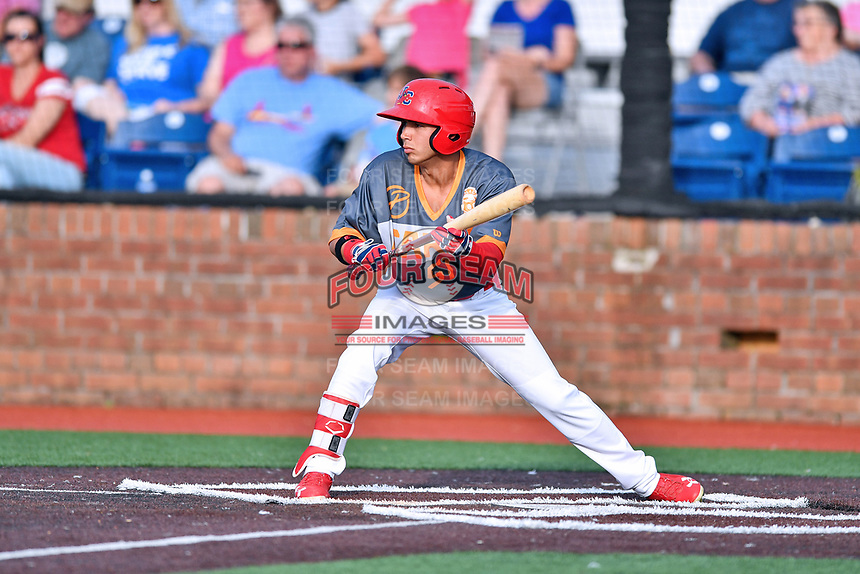 Johnson City Cardinals center fielder Jonatan Machado (51) squares to bunt during a game against the Pulaski Yankees at TVA Credit Union Ballpark on July 7, 2018 in Johnson City, Tennessee. The Cardinals defeated the Yankees 7-3. (Tony Farlow/Four Seam Images)