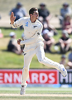 25th November 2019; Mt Maunganui, New Zealand;  Mitchell Santner bowling International test match day 5 of 1st test, New Zealand versus England;  at Bay Oval, Mt Maunganui, New Zealand.