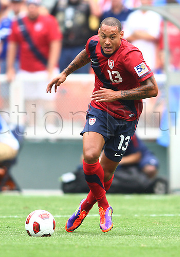 19.06.2011. Washington, USA.  Jermaine Jones (13) of  USA scored the winning goal during a CONCACAF Gold Cup quarter-final match against Jamaica at RFK stadium in Washington D.C. USA won 2-0.