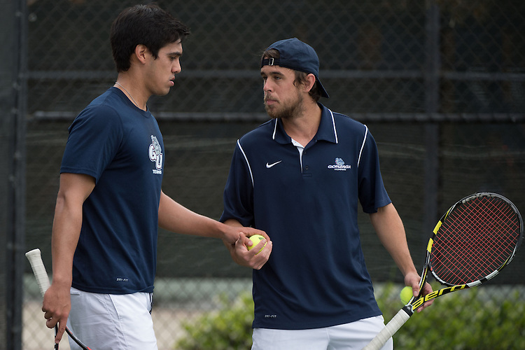 April 22, 2015; San Diego, CA, USA; Gonzaga Bulldogs tennis players Sergio Chip (left) and Joey Brandt (right) during the WCC Tennis Championships at Barnes Tennis Center.