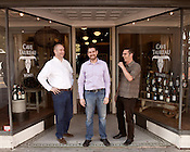 October 19, 2012. Durham, North Carolina..  Cave Taureau owners (left to right) Nathan Vandergrift, Noel Sherr and Wes Rountree.. Cave Taureau, a new wine shop, will open on Main Street on October 20.