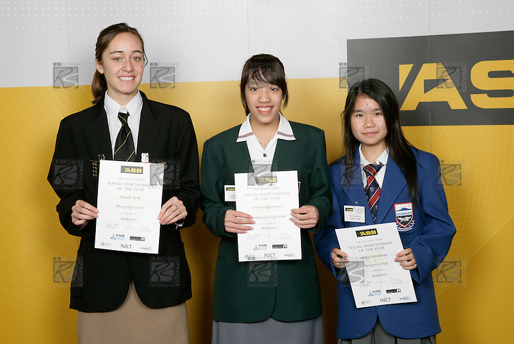 Badminton Girls Finalists. ASB College Sport Young Sportsperson of the Year Awards 2006, held at Eden Park on Thursday 16th of November 2006.<br />