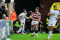 Freddie Burns of Leicester Tigers celebrates his second half try. European Rugby Champions Cup match, between Leicester Tigers and Racing 92 on October 23, 2016 at Welford Road in Leicester, England. Photo by: Patrick Khachfe / JMP