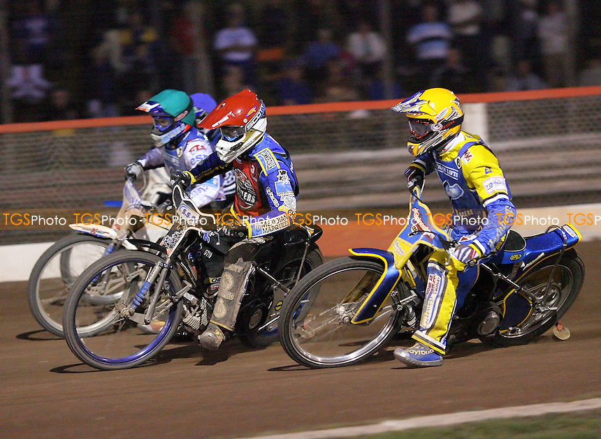 Heat 12 - Watt (red), Davidsson (yellow), Simota, Tomicek - Lakeside Hammers vs Reading Racers - Sky Sports Elite League at Arena Essex, Purfleet - 03/08/07 - MANDATORY CREDIT: Gavin Ellis/TGSPHOTO - SELF-BILLING APPLIES WHERE APPROPRIATE. NO UNPAID USE. TEL: 0845 094 6026..