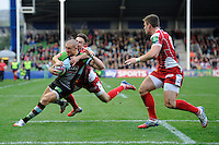 Mike Brown of Harlequins scores a try during the Heineken Cup Round 1 match between Harlequins and Scarlets at the Twickenham Stoop on Saturday 12th October 2013 (Photo by Rob Munro)