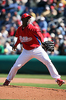 March 4, 2010:  Pitcher Jose Contreras of the Philadelphia Phillies during a Spring Training game at Bright House Field in Clearwater, FL.  Photo By Mike Janes/Four Seam Images