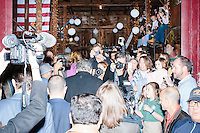 Republican presidential candidate and former Florida governor Jeb Bush arrives to speak to a crowd in the barn of Dr. and Mrs. James Betti in Rye, New Hampshire, for former Massachusetts senator Scott Brown's No B.S. BBQ series.
