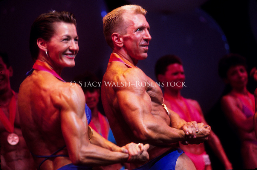 (020201-SWR05.jpg) -- New York, NY  -- Lesbian and Gay Body Builders compete in the Physique Finals of Gay Games at Madison Square Garden.