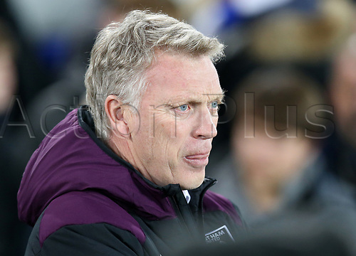29th November 2017, Goodison Park, Liverpool, England; EPL Premier League Football, Everton versus West Ham United; David Moyes, manager of West Ham United looks on from the dugout