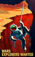 A NASA poster from a series advocating exploration of Mars from 2009. The posters were created for an exhibit int he Kennedy Space Center. (NASA/KSC) Editorial Use Only.